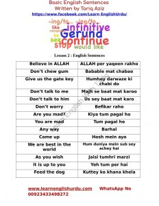 BASIC ENGLISH SENTENCES IN URDU